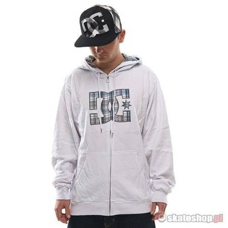 DC DEVICE ZIP white hooded sweatshirt