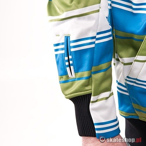 Bluza Softshell SESSIONS Retro Stripe (lime retro stripe) zielono-niebieska w paski kaptur zip