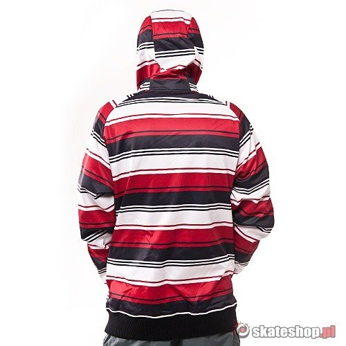 Bluza Softshell SESSIONS Retro Stripe (red retro stripe) czerwono-czarna w paski kaptur zip