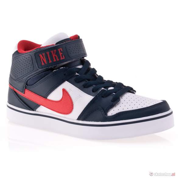 Buty NIKE Mogan 2 MID SE 13 (armory navy/athletic red/white) granatowo-białe