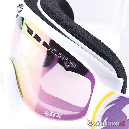 Gogle DRAGON DX (classic collection/pink ion) biało-fioletowe + Gratis Amber Lens !!