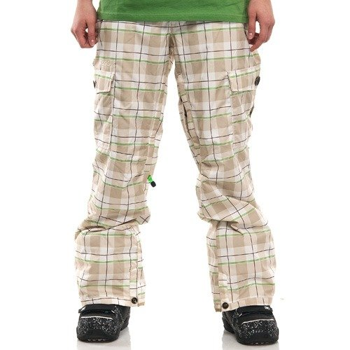 Spodnie snowboardowe SESSIONS Motion Avery Plaid WMN (smoke/white plaid) kremowo-biała