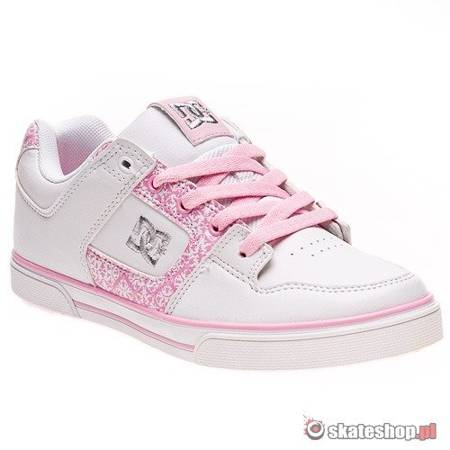 DC Pure SN white/white/pink youth's shoes